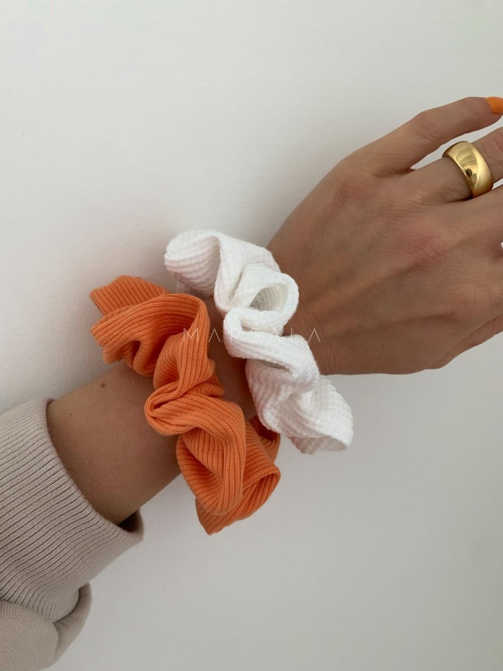 Gumka/frotka do włosów z dzianiny prążkowanej w exotic orange EMI by MARSALA
