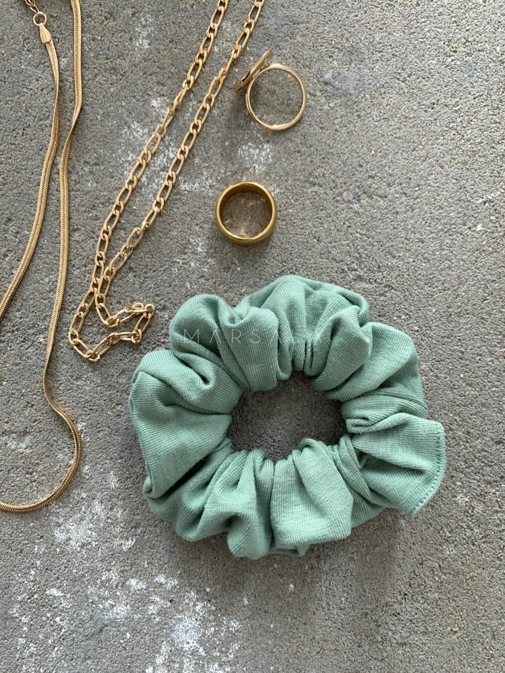 Gumka/frotka do włosów z cienkiej bawełny kolor green tint EMI by MARSALA