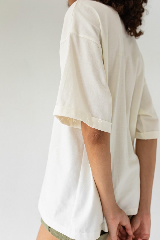 T-shirt typu oversize w kolorze CLOUD WHITE - COY BY MARSALA
