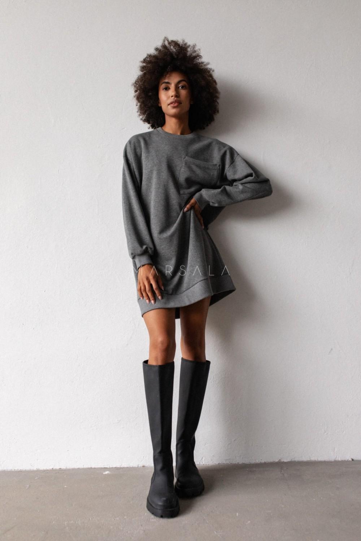 Długa bluza o kroju oversize z kieszonką w kolorze DEEP GREY MELANGE - BRESSO BY MARSALA