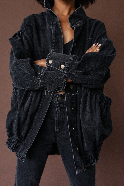 Katana kurtka jeansowa oversize z marszczeniami - CHILL BLACK DENIM JACKET BY MARSALA