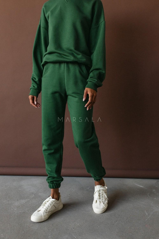 Spodnie dresowe typu jogger w kolorze HUNTER DARK GREEN - DISPLAY BY MARSALA