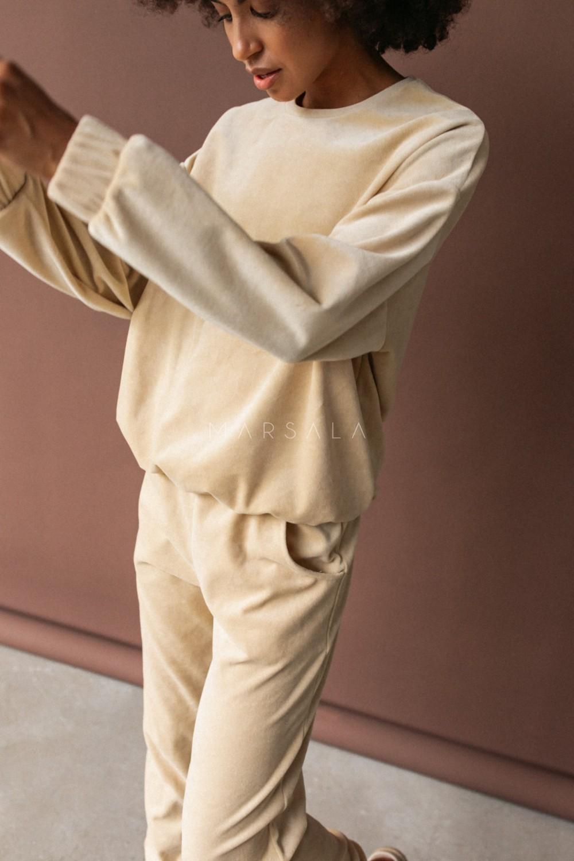 Gładka bluza wykonana z weluru w kolorze JASNOBEŻOWYM - CORBY VELVET BY MARSALA