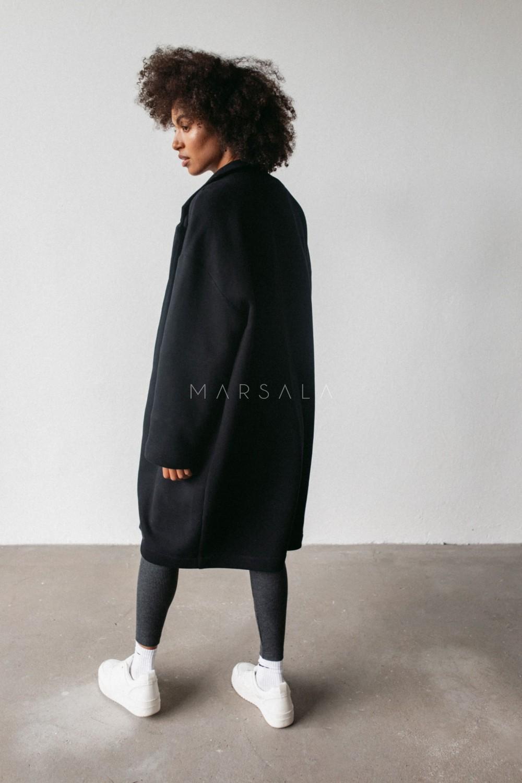 Płaszcz typu oversize z miękkiej dzianiny dresowej w kolorze czarnym - GHOST BY MARSALA