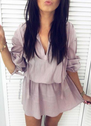 Sukienka VERONA - pudrowy nude