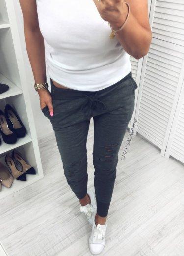 Spodnie dresowe z DZIURAMI khaki