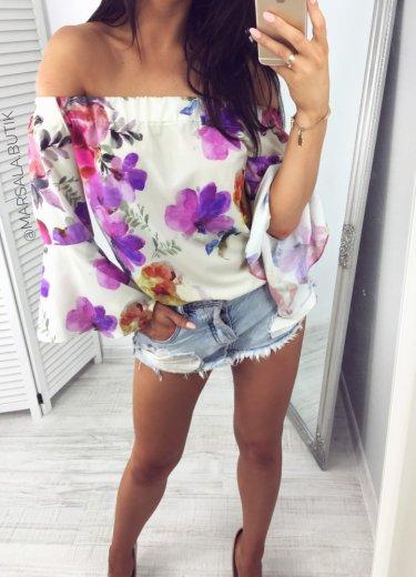 Bluzka LATINA kwiaty - ecru