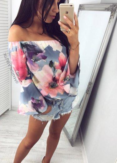 Bluzka LATINA kwiaty - szara