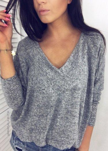 Sweterek SIMPLE V NECK - szary