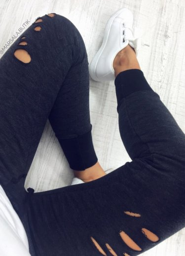 Spodnie dresowe z DZIURAMI grafit