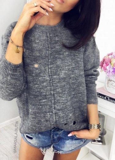 Sweter COOKIE z dziurami - szary