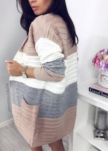 Narzutka Sweter PASY - beżowo biały