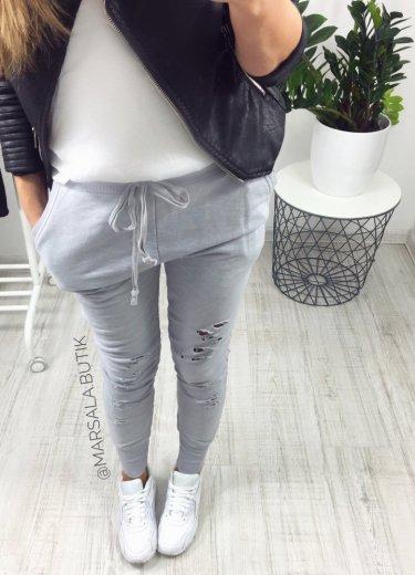 Spodnie dresowe z DZIURAMI szare