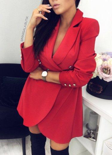 Sukienka żakietowa QUEEN - czerwona