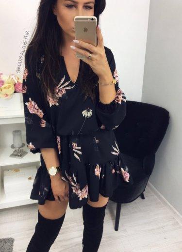 Sukienka CANDY - czarna w kwiaty PINK