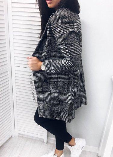 Płaszcz TIMBER  - czarno biały