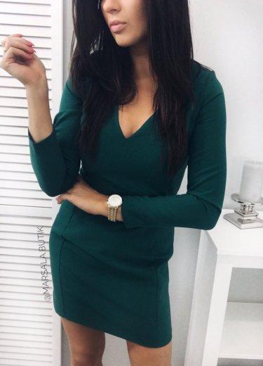 Sukienka MODENA z BROSZKĄ - zielona