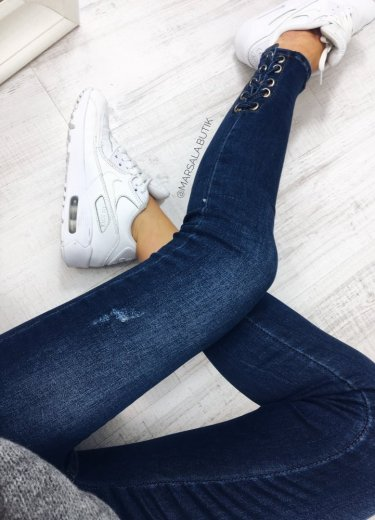 Spodnie JEANSY - wiązane nogawki