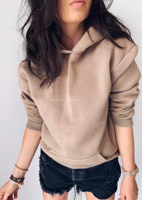 BASIC BY MARSALA hooded sweatshirt mocca