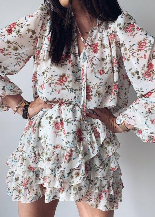 Komplet DUO bluzka + spódniczka ecru w kwiatuszki czerwone
