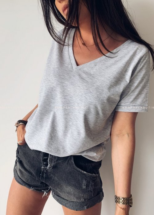 T shirt V NECK BASIC BY MARSALA szary