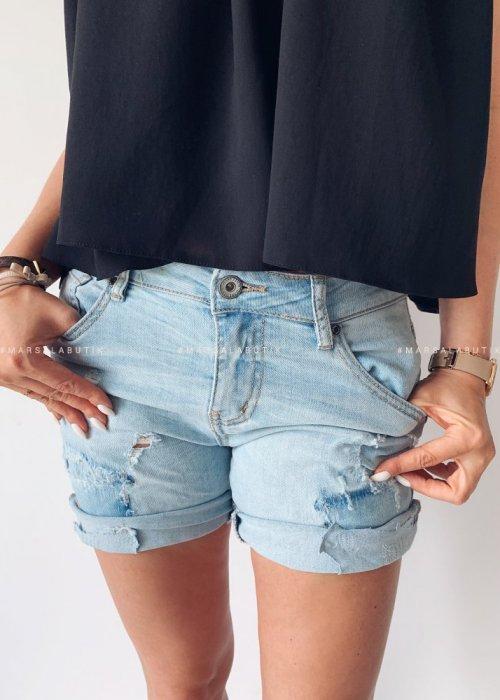 Spodenki BIKER DOUBLE BASS jeansowe z łatami