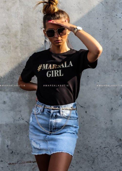 T shirt #MarsalaGirl czarny GOLD x Karolina