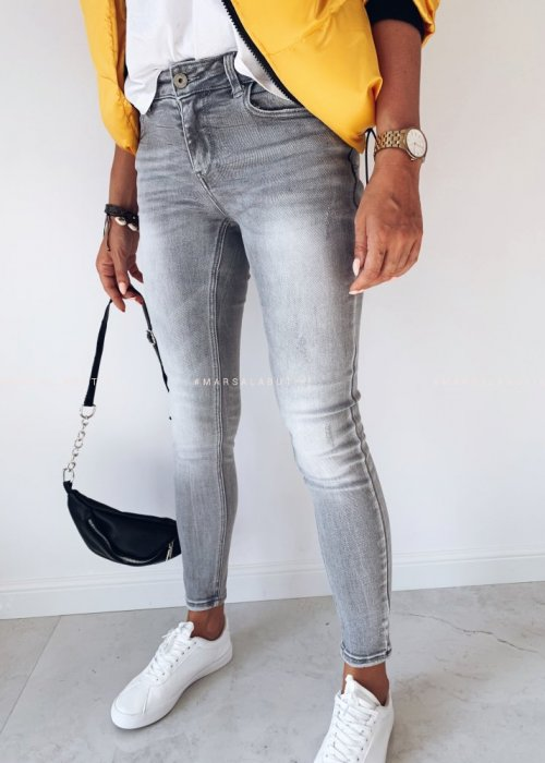 SLIM LIGHT GREY JEANS trousers smooth grey