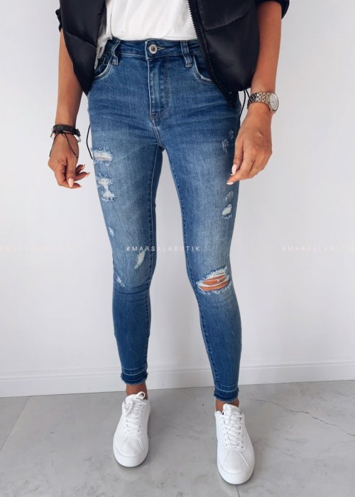 Spodnie jeansy BLUE ZIP z suwakiem