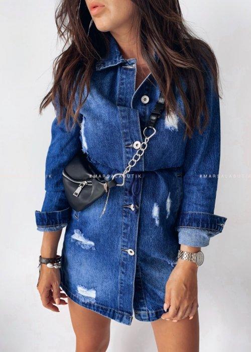 Sukienka jeansowa z długim rękawem ANSWEAR ze ściągaczem