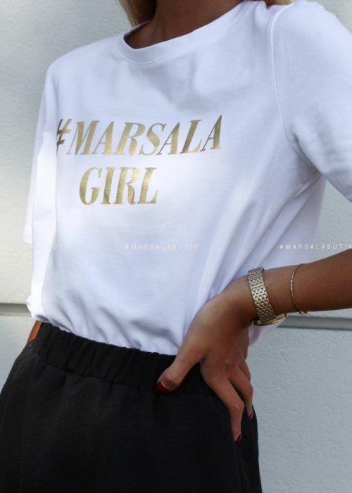 T shirt #MarsalaGirl biały GOLD x Karolina