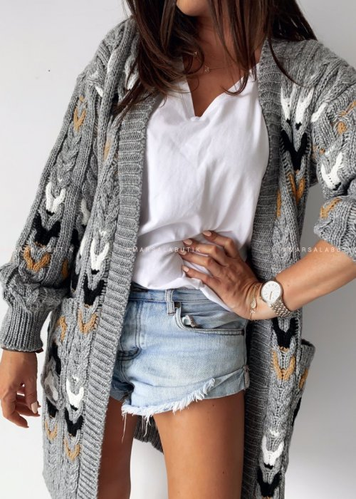 Grey cardigan with patterns – RAINBOW
