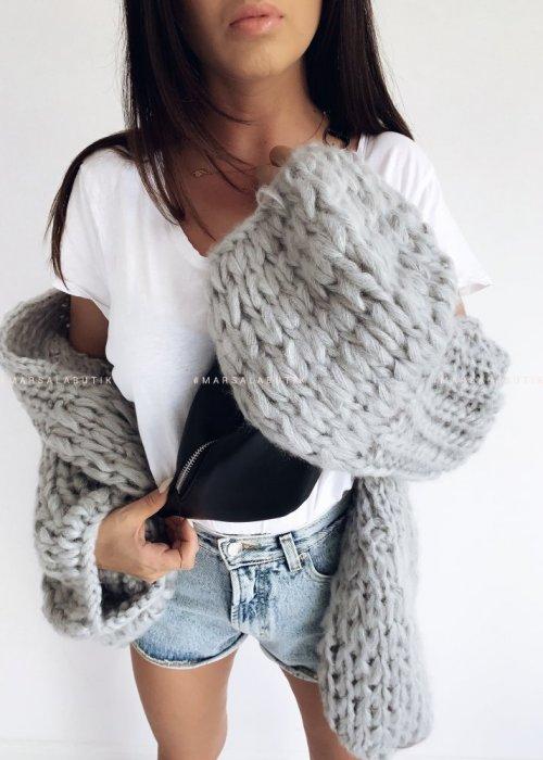 Sweter kardigan gruby szary - CHUNKY