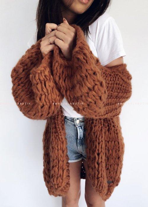 Sweter kardigan gruby ceglany - CHUNKY