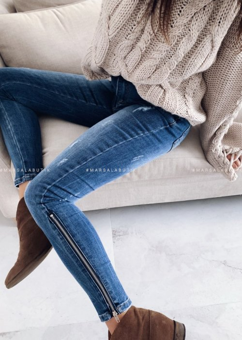 Zip denim jeans SILVER BLUE