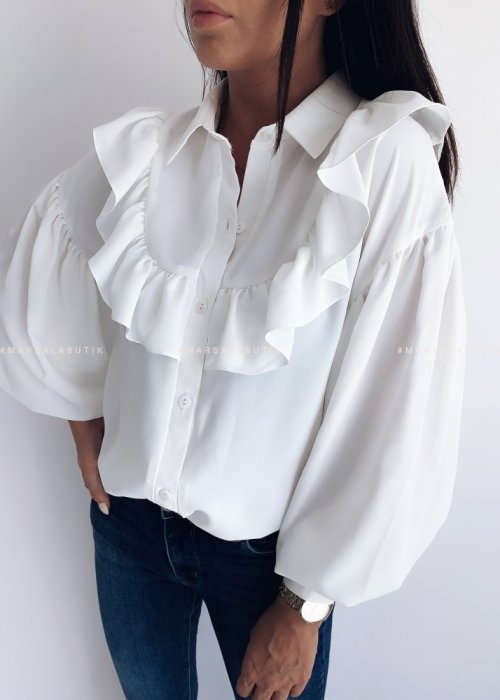 Koszula ROSEMARY z falbanką ecru