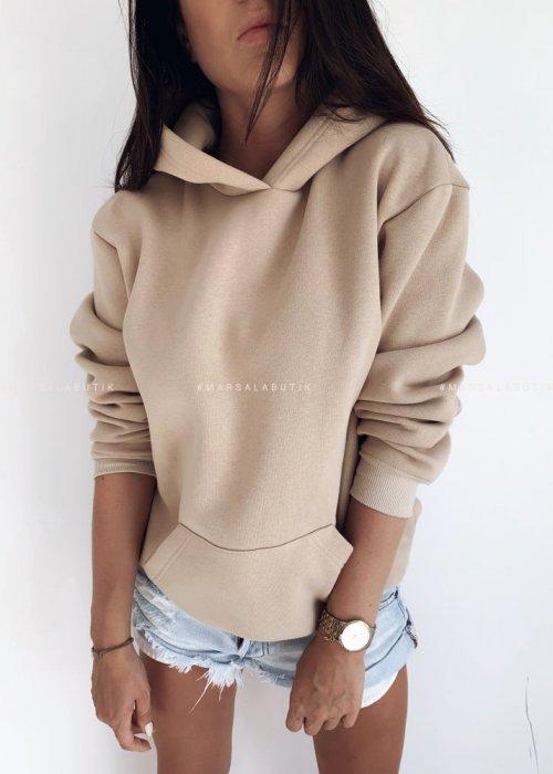 Bluza BASIC BY MARSALA z kapturem beżowa
