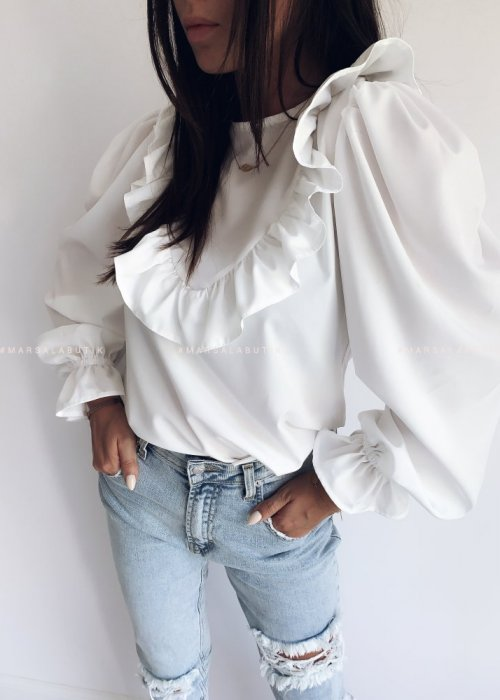 OLIVIA V ecru frill blouse
