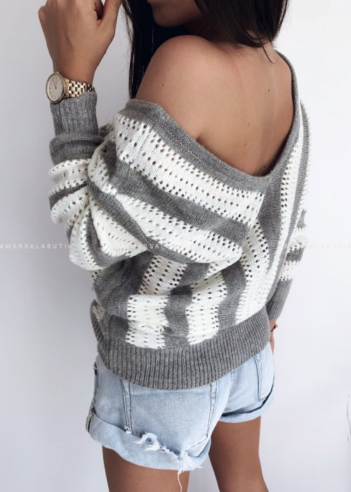 DOUBLE grey striped sweater