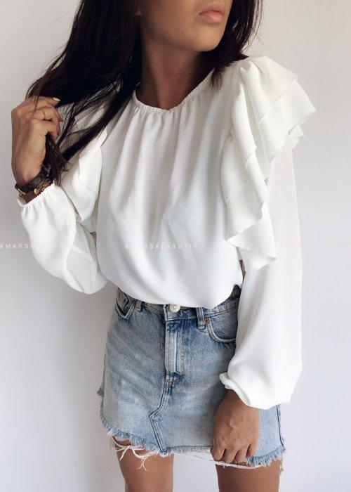 Bluzka z falbankami na ramionach ecru - TEA BY MARSALA