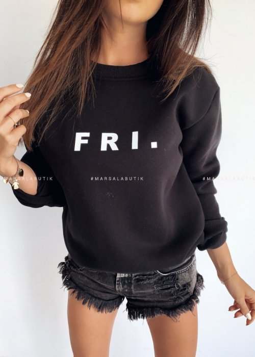 Black sweatshirt with FRI print. BY MARSALA