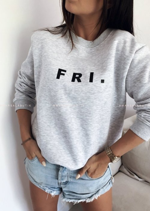 Grey sweatshirt with FRI print. BY MARSALA