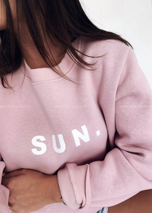 Pink sweatshirt with SUN print. BY MARSALA
