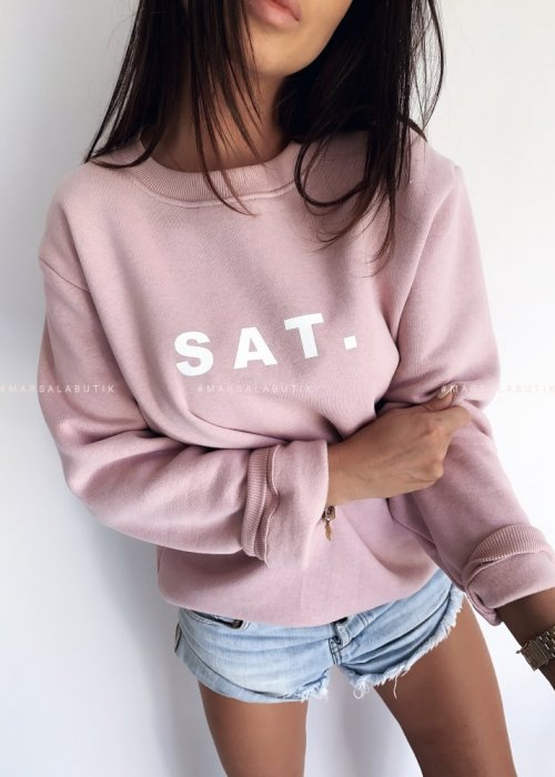 Pink sweatshirt with SAT print. BY MARSALA