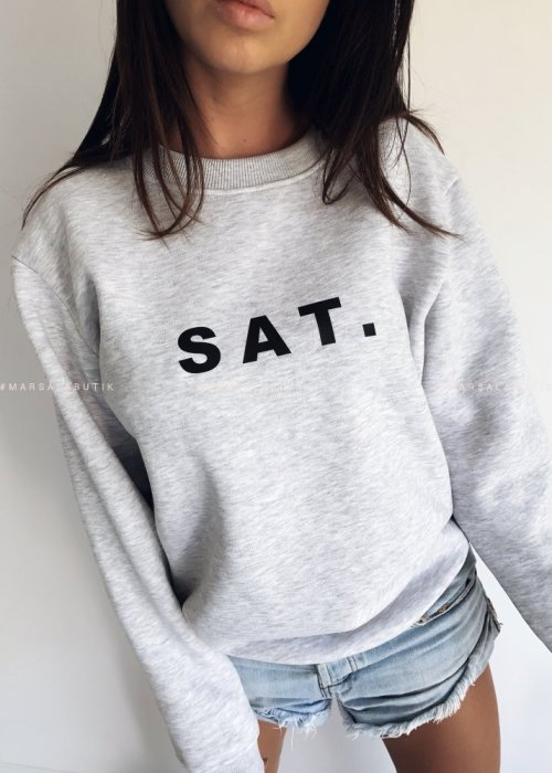 Grey sweatshirt with SAT print. BY MARSALA