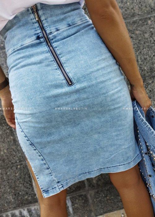 Spódnica tuba jeansowa z marszczeniem - HAPPEN