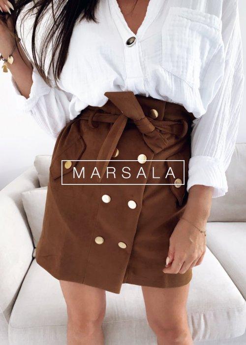 Spódniczka mini zamszowa w kolorze kamelowym - SMOOTHIE