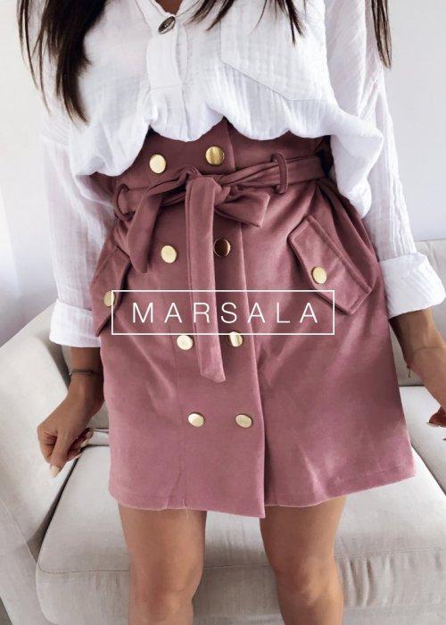 Spódniczka mini zamszowa w kolorze pudrowego różu - SMOOTHIE
