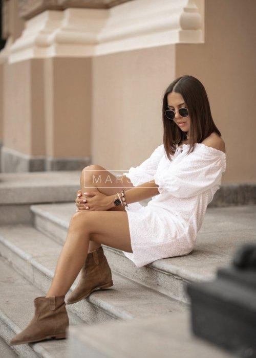 Sukienka/hiszpanka ELIS BY MARSALA biała ażurowa