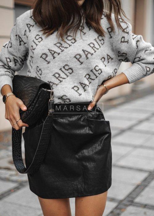 Sweater with grey Paris print